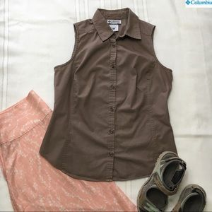 Columbia Button Top, brown, sz S